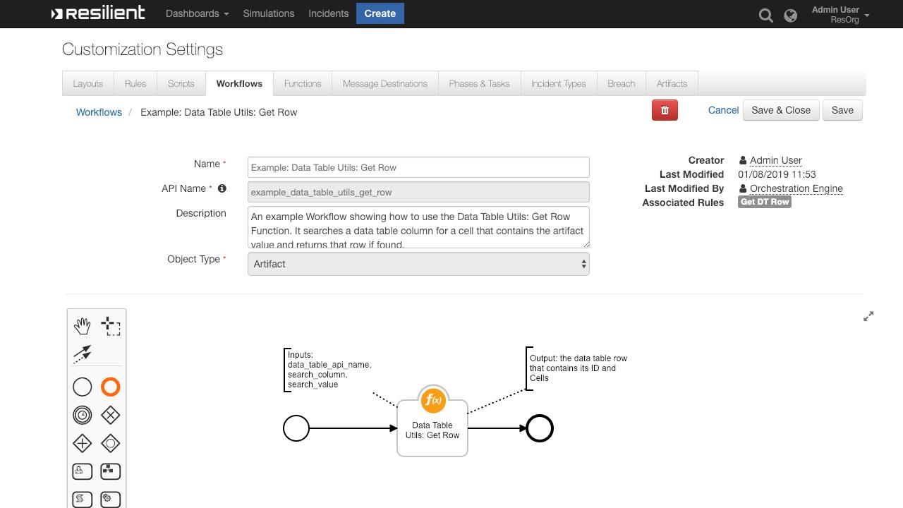 IBM Security App Exchange - IBM Resilient Data Table Helper Functions
