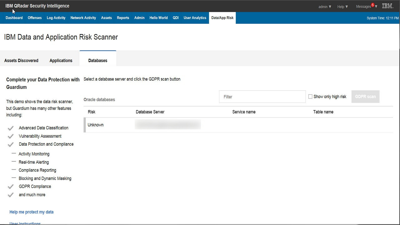 Ibm Security App Exchange Data And Application Risk Scanner Database Protection Screenshot