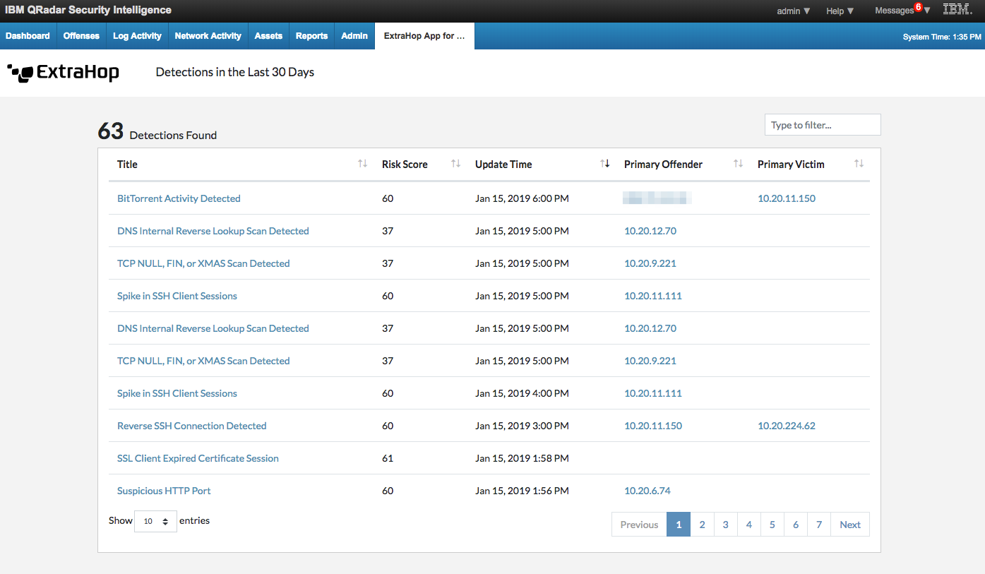 IBM Security App Exchange - ExtraHop App for QRadar